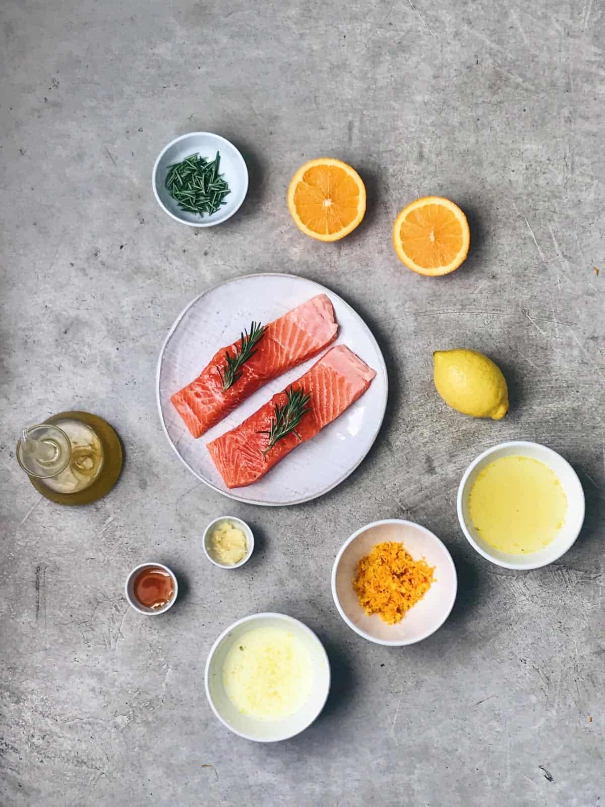 Ingredientes del salmón a la naranja