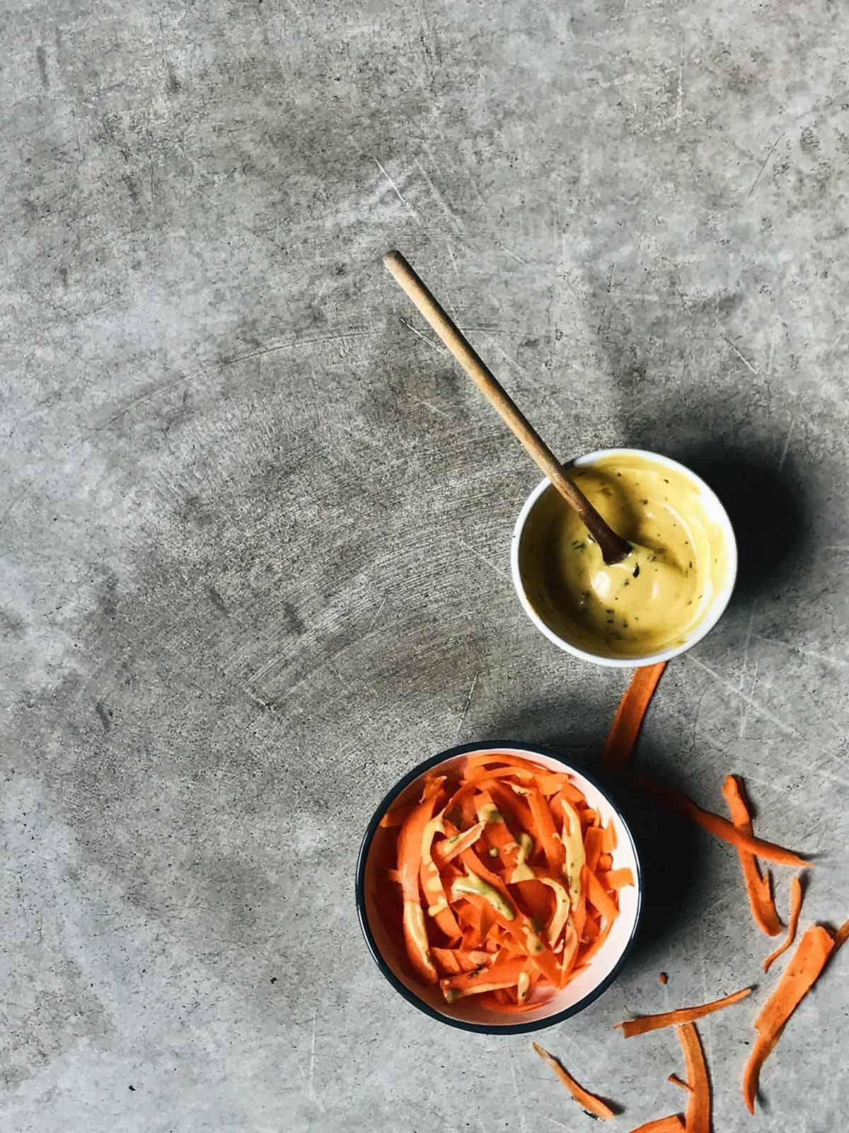 Ensalada de zanahoria con salsa Dijon