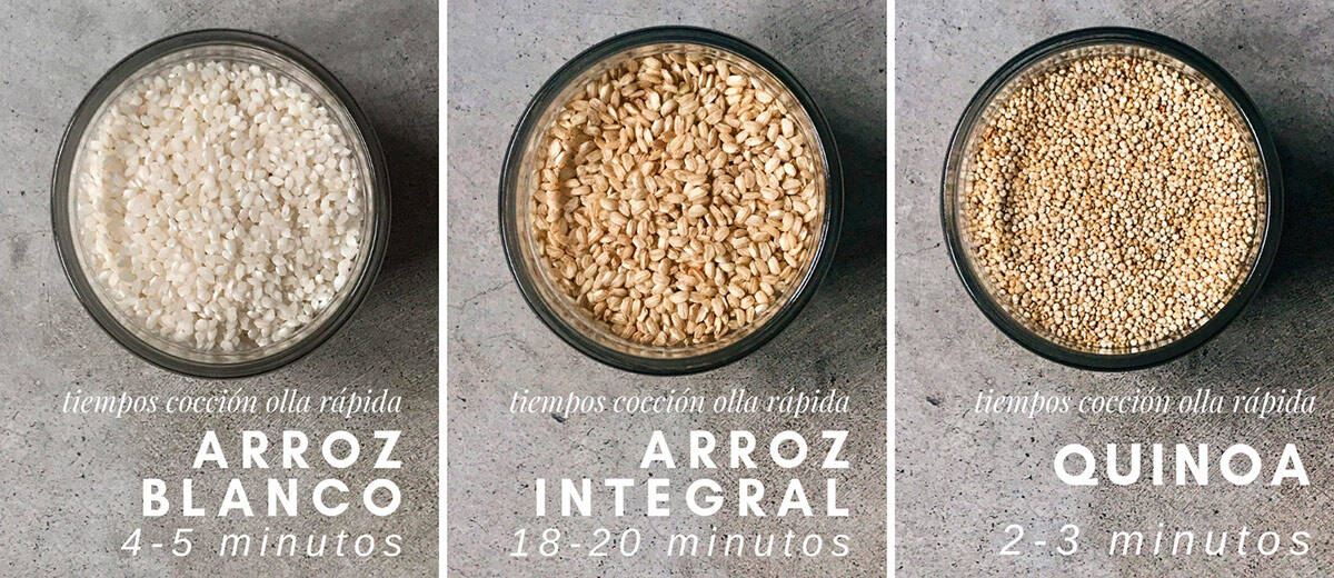 Cocción de cereales en olla rápida