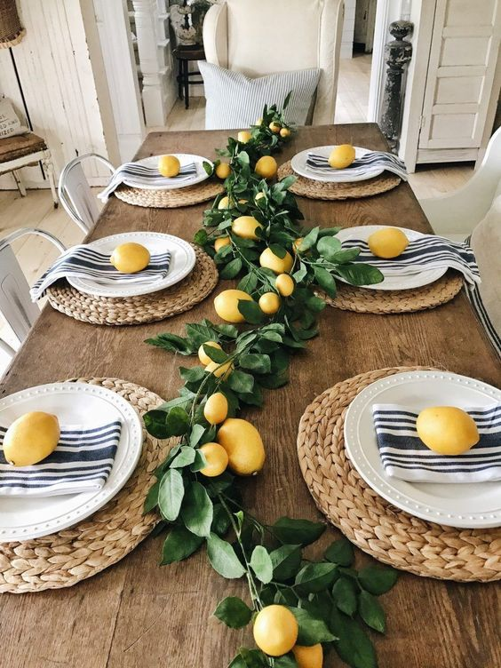 Mesas bonitas decoradas con amarillo y verde limón