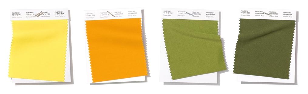 Poner la mesa amarillo y verde pantone