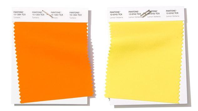 Pantone naranja y amarillo