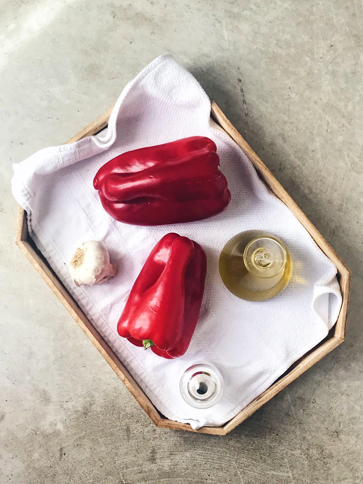 Pimientos rojos asados en microondas