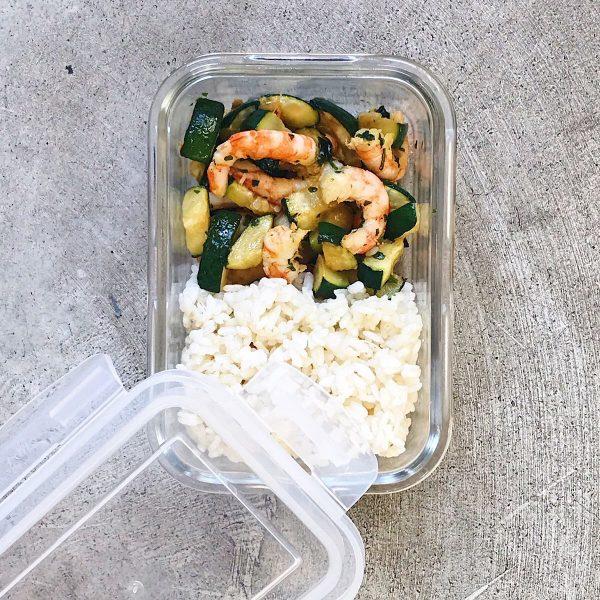 Receta de arroz, calabacín y gambas