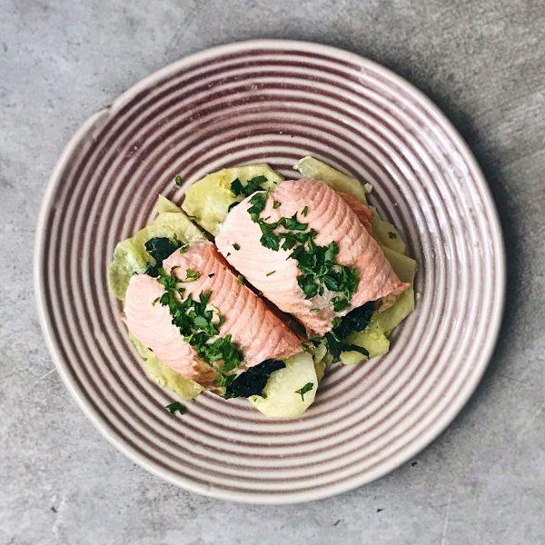 Receta de salmón con espinacas