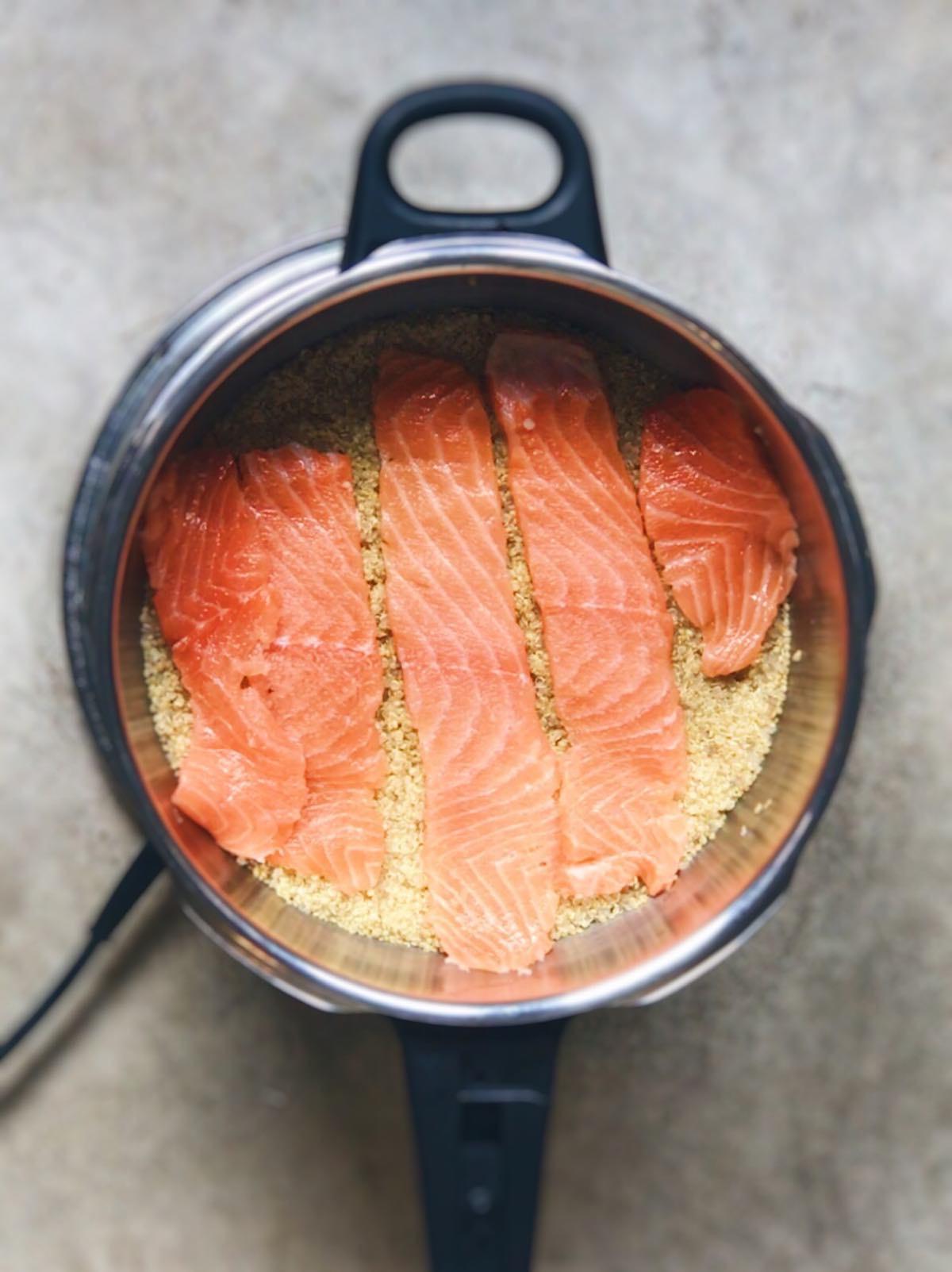 quinoa con salmon fresco en olla