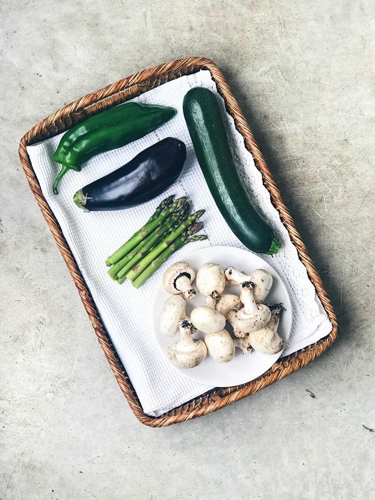 ingredientes de verduras a la plancha