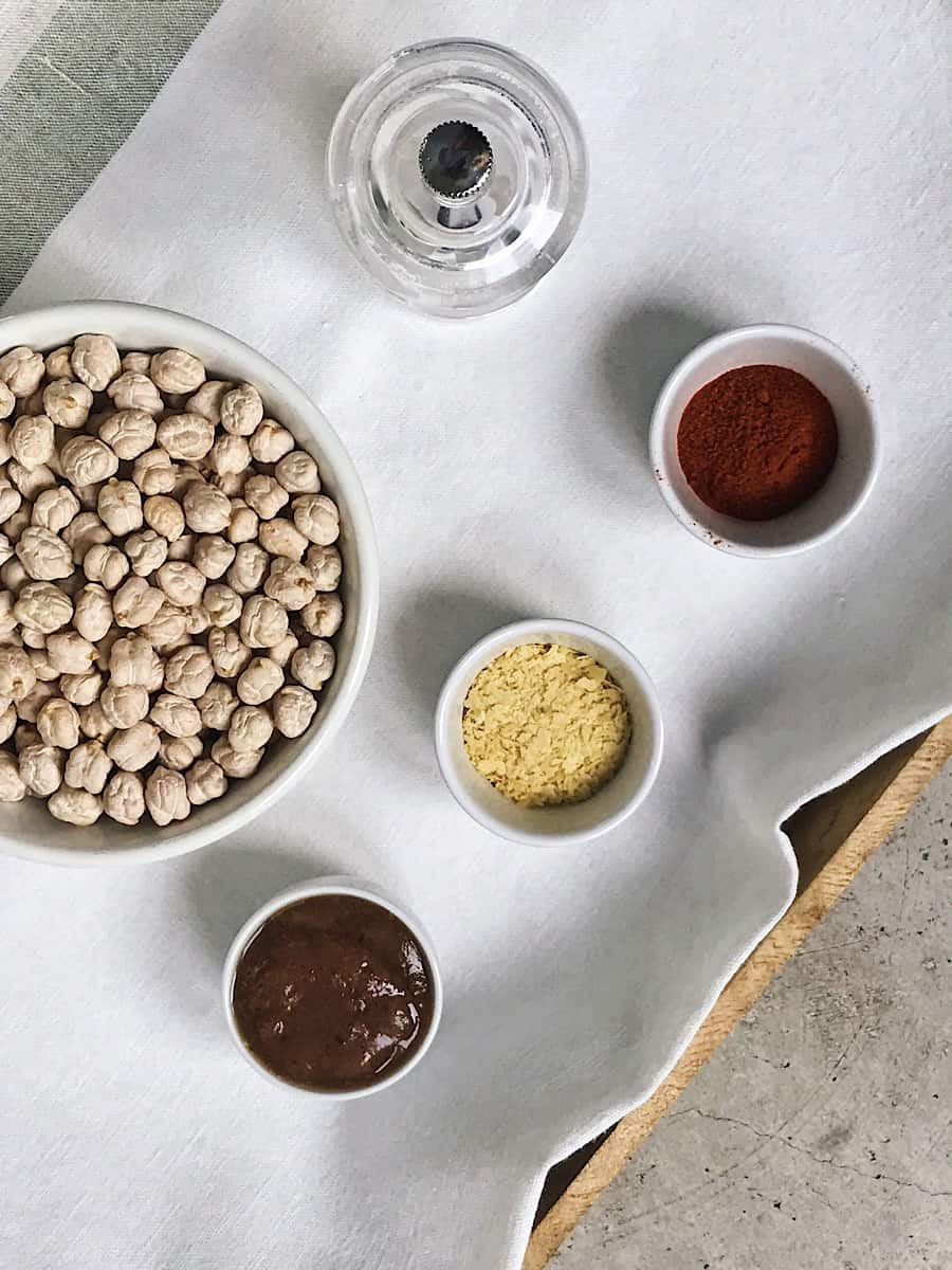 Ingredientes de garbanzos tostados