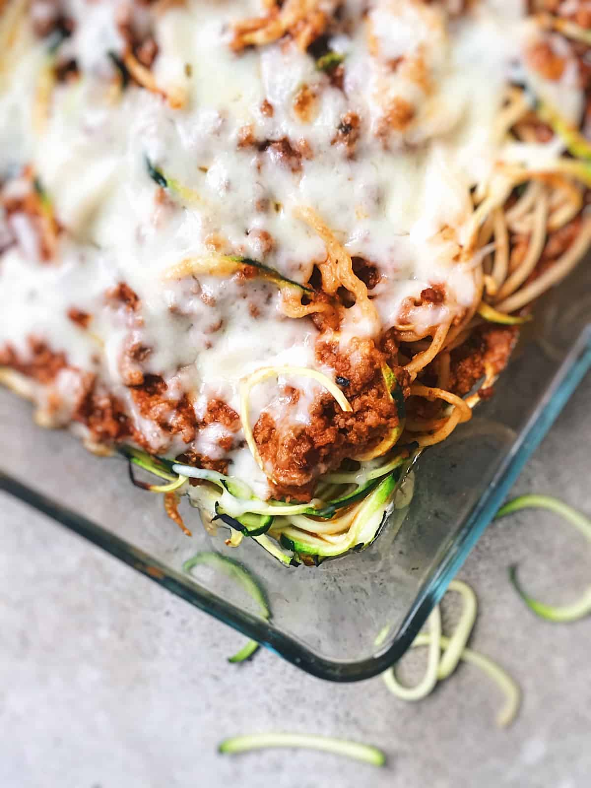 Espaguetis con espirales de calabacin