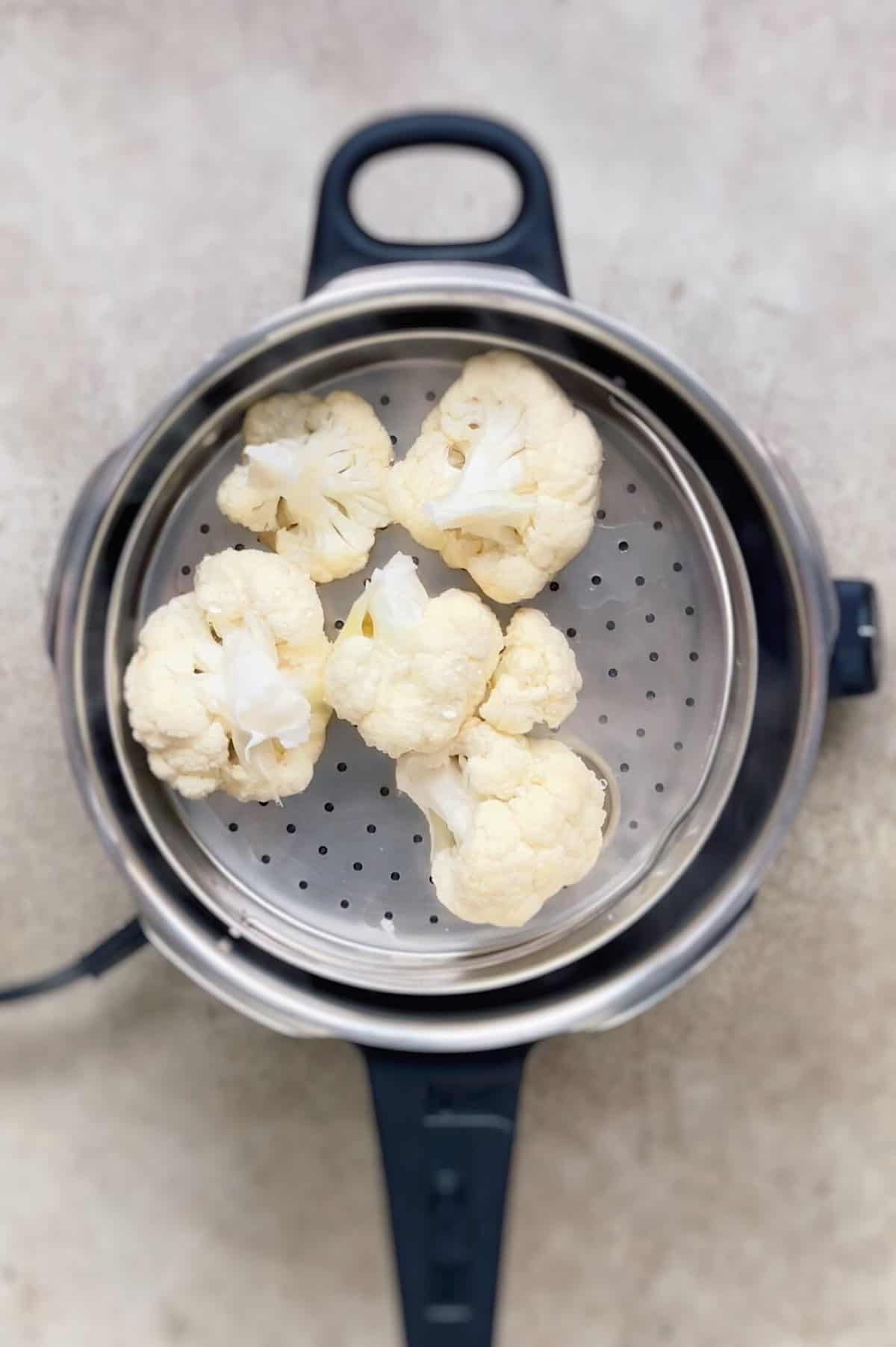Coccion de coliflor en olla rapida